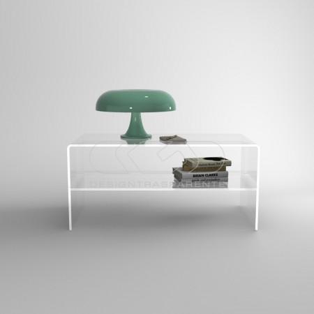 Tavolino da salotto con ripiano intermedio in plexiglass trasparente