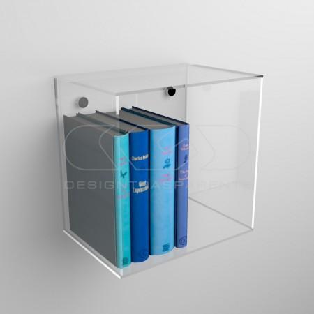 Estantería cúbo de metacrilato transparente, caja de exposición de pared.