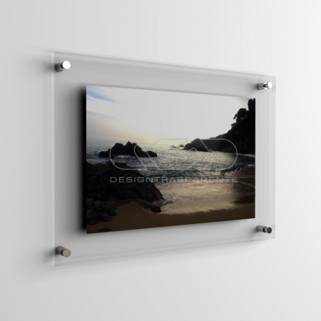 Transparent acrylic frame composed of two panels with spacers